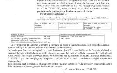 Voici la réponse de la locale ECOLO de Comines-Warneton à l'enquête publique demandée par la SA TAVEIRNE
